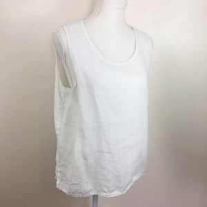 FLAX Solid White Linen Sleeveless Blouse Tank G